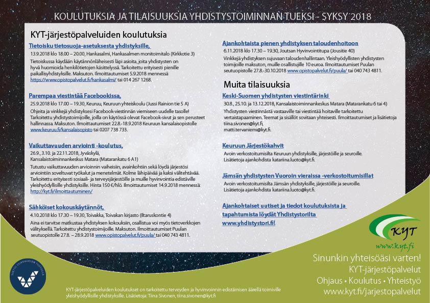 KYT-järjestöpalvelut: syksyn 2018 koulutuskalenteri julkaistu