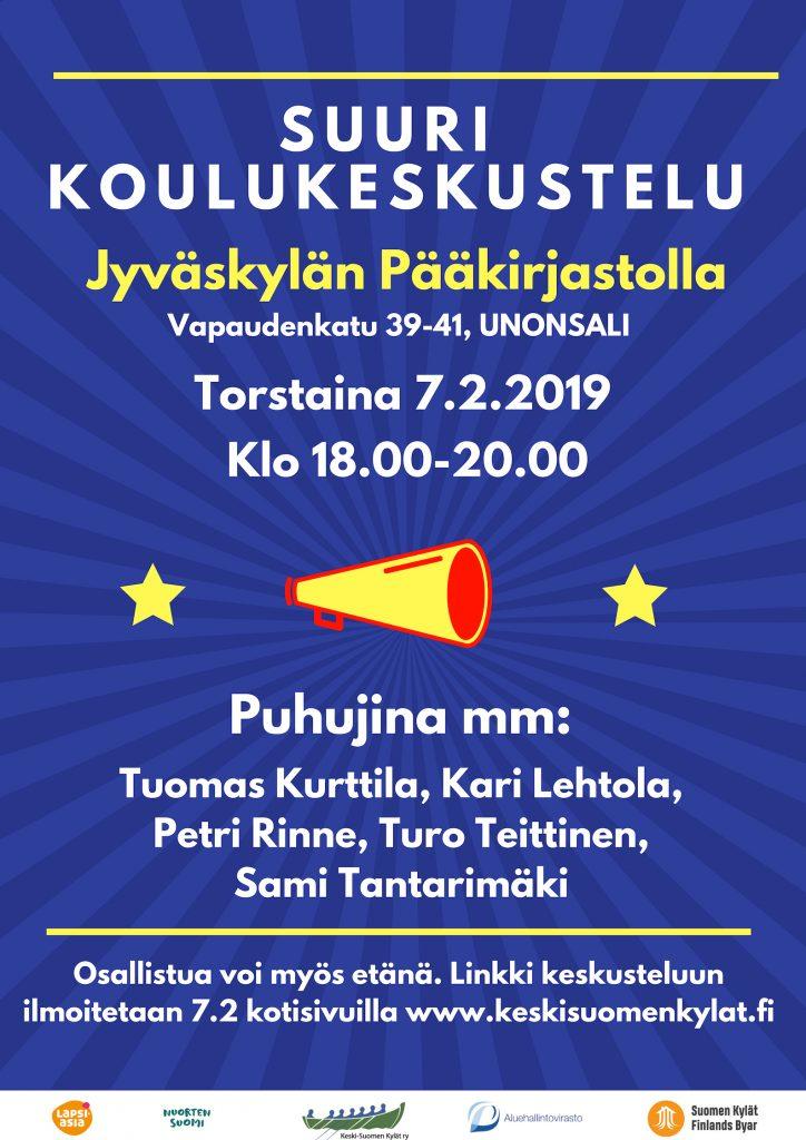 Suuri koulukeskustelu 7.2.2019 klo 18:00 – 20:00 Jyväskylän pääkirjastolla