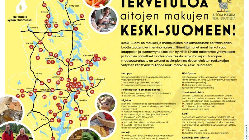 Keski-Suomen ruokakartta kutsuu tutustumaan lähellä tuotettuun ruokaan