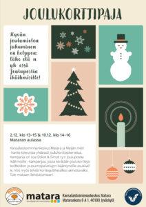 Esitteessä on piirrettyjä joulukortteja.