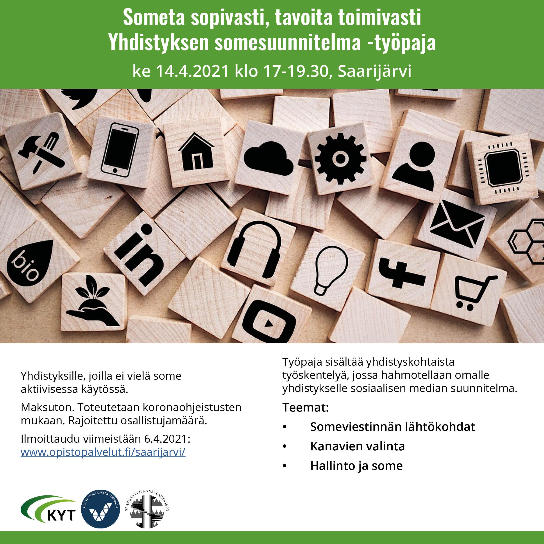 Yhdistyksen somesuunnitelmatyöpaja 14.4.2021 Saarijärvi -mainos